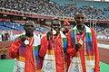 XIX Commonwealth Games-2010 Delhi Winners of (Men's 10000m) Ndiem Moses Kipsiro of Uganda (Gold), D. Salel of Kenya (Silver) and Kipto Joseph Birech of Kenya (Bronze), at Jawaharlal Nehru Stadium, in New Delhi.jpg