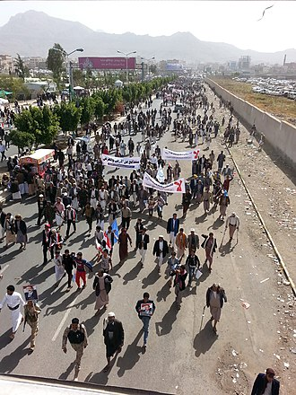 Yemeni Civil War (2015–present) - A pro-Saleh protest in Sana'a against the Saudi-led intervention, March 2016