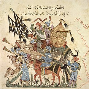 Amir al-hajj - An Arabic manuscript by al-Hariri of Basra depicting a Mamluk-era Hajj caravan en route to Mecca from the Levant, 1237