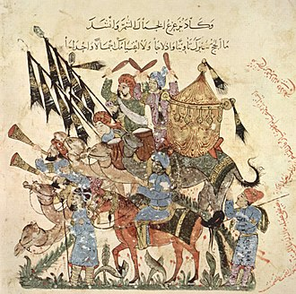 Ibn Battuta - A 13th-century book illustration produced in Baghdad by al-Wasiti showing a group of pilgrims on a hajj