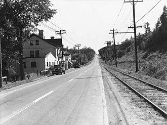 York Mills - View of the TTC's North Yonge Railways line in York Mills, 1936.