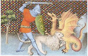 Yvain, the Knight of the Lion - Yvain rescues the lion from the dragon, (French, 15th century)