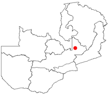 Location of Serenje in Zambia