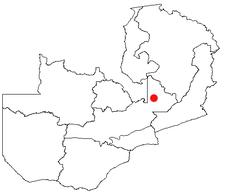 Location of Serenje in Zambia