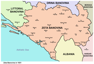 Zeta Banovina - Map of Zeta Banovina