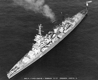 Sverdlov-class cruiser - Zhdanov after conversion to a command cruiser