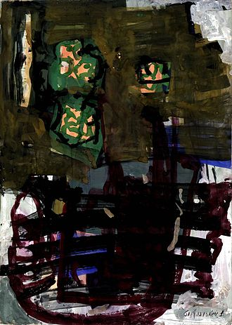 Ofakim Hadashim - Zvi Meirovich gouache 1961 70x50 cm