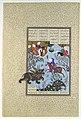 """Bahram Gur Slays the Rhino-Wolf"", Folio 586r from the Shahnama (Book of Kings) of Shah Tahmasp MET DP107178.jpg"