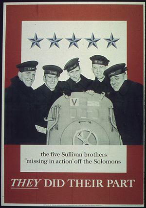 Sullivan brothers - Wartime poster featuring the Sullivan brothers