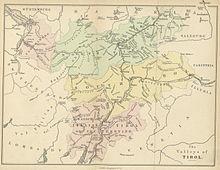 Cartina geografica in inglese del 1874: qui con South Tirol viene indicato approssimativemente il territorio dell'odierna provincia di Bolzano, parte della provincia di Belluno e il distretto di Lienz.