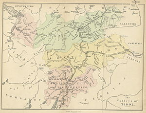 South Tyrol - A map from 1874 showing South Tirol with approximately the borders of today's South and East Tyrol