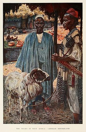 "Harry Johnston - Frontispiece painting ""The Negro in West Africa - Liberian Hinterland"" painted by Johnston and published in his book The Negro in the New World (1910)"