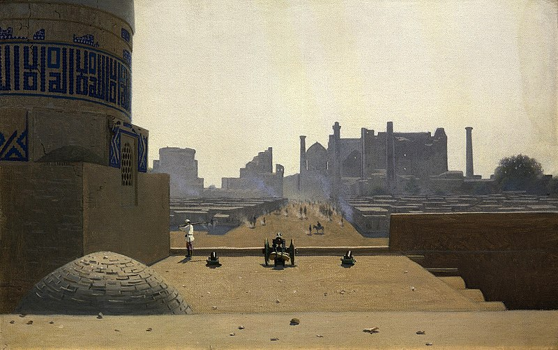 Главная улица в Самарканде с высоты цитадели ранним утром, 1869-1870