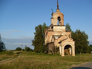 Kotlassky District - St. Nicholas Church in Nyuba, built between 1818 and 1821. Architectural monument protected at the local level.
