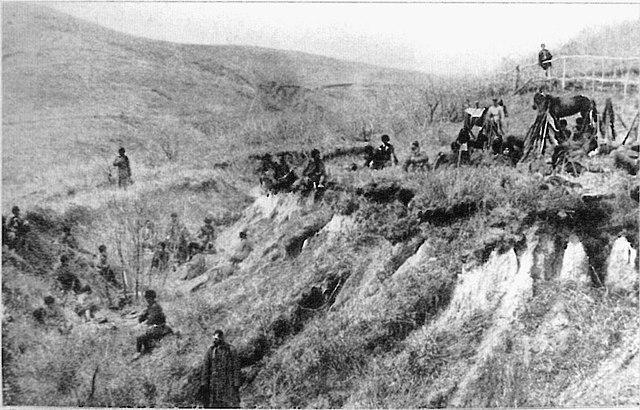 Привал военной охотничьей команды во время рекогносцировки, 1904—1905 гг.
