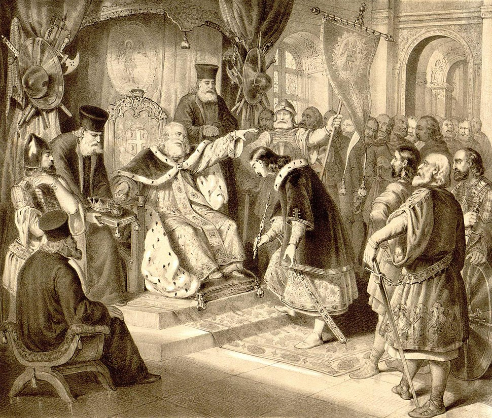 Стефан Немања предаје са благословом владу србску сину свом Стефану Првовенчаном