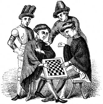 Draughts - Men in medieval clothing playing draughts
