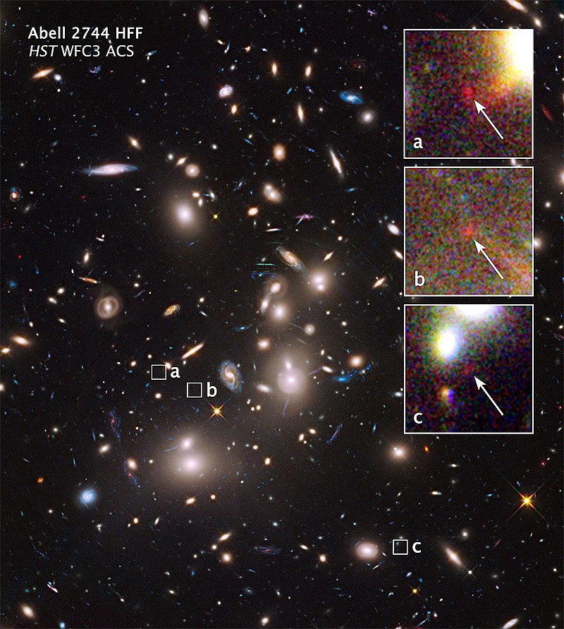 Abell 2744 galaxy cluster – extremely distant galaxies revealed by gravitational lensing (16 October 2014).[၅][၆]