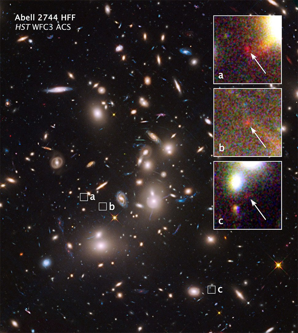 Abell 2744 galaxy cluster – extremely distant galaxies revealed by gravitational lensing (16 October 2014).