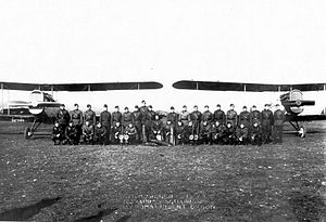 163d Aero Squadron - Pilots and Dayton-Wright DH-4 planes of the 163d Aero Squadron (Day Bombardment), Ourches Aerodrome, France, November 1918