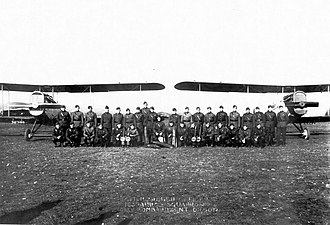 163d Aero Squadron - Pilots and Dayton-Wright DH-4 planes of the 163d Aero Squadron (Day Bombardment), Ourches Aerodrome, France, November 1918