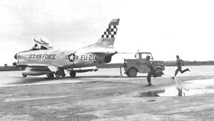 16th Weapons Squadron - North American F-86D-35-NA Sabre 51-6214, assigned to Naha Air Base, Okinawa, shown at Chia-Yi Afld, Taiwan, 1955