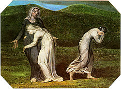 Noemí, Rut y Orpa (pintura de William Blake, 1795).