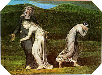 Authorship of the Bible - Naomi entreating Ruth and Orpah to return to the land of Moab by William Blake, 1795