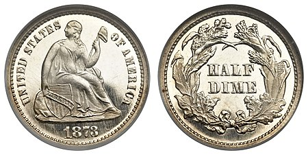 The two-cent piece, three-cent silver, and half dime were discontinued by the Coinage Act of 1873.