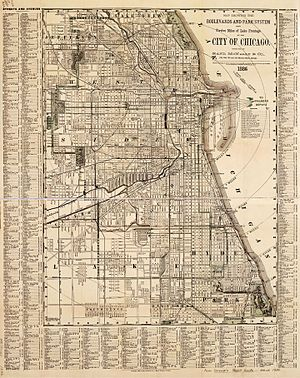 Parks in Chicago - An 1886 map detailing the system of parks and boulevards that would circle the city.