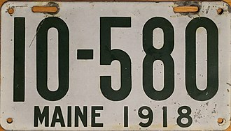 Vehicle registration plates of Maine - Image: 1918 Maine license plate