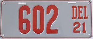Vehicle registration plates of Delaware - Image: 1921 Delaware license plate