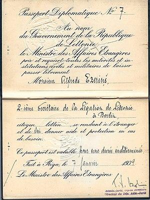 Latvian passport - Image: 1939 Latvian Diplomatic passport used for serving in Berlin