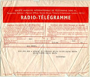 English: 1944 SOS telegram reporting airmen in...