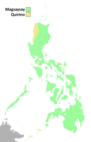 1953 Philippine presidential election results per province.png
