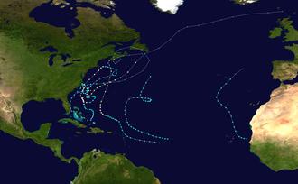 1962 Atlantic hurricane season - Image: 1962 Atlantic hurricane season summary map