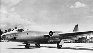 A No. 1 Long Range Flight Canberra at Ratmalana Airport in Ceylon during the London-to-Christchurch air race