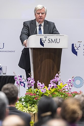 Christopher Greenwood - Greenwood speaking at Singapore Management University School of Law in 2018