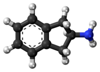 Ball-and-stick model of the 2-aminoindane molecule
