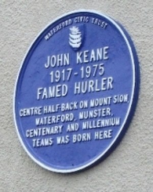 John Keane (hurler) - Blue Heritage plaque on the house where John Keane was born in Barrack St., Waterford.