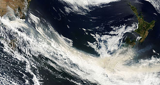 Black Saturday bushfires - MODIS imagery shows smoke from the fires carried by winds over the Tasman Sea to New Zealand on 8 February