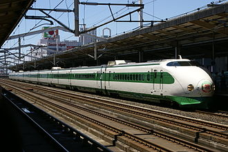 "Tōhoku Shinkansen - Refurbished 10-car set K47 in ""revival livery"" on a special 25th anniversary working, 23 June 2007"