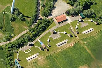Skeet shooting - Aerial view of a skeet shooting range in Cuxhaven, Wilhelmshaven, Germany