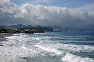 Ribeira Grande, Azores - The long beach of Santa Bárbara and Monte Verde, used by surfers