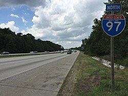 2016-08-12 14 48 04 View north along Interstate 97 (Robert Crain Highway) just north of Exit 10 in Severna Park, Anne Arundel County, Maryland.jpg