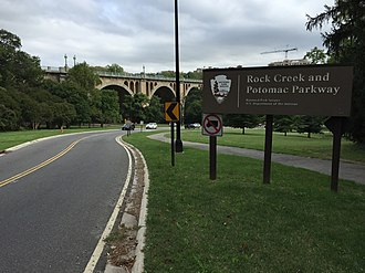 Rock Creek and Potomac Parkway - View south at the north end of the parkway