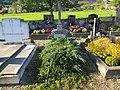 2017-09-14 (125) Grave of Family Schimpf with grave cross and Juniperus horizontalis (creeping juniper) at Friedhof St. Gotthard in Texingtal, Austria.jpg