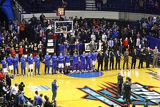 2016–17 DePaul Blue Demons men's basketball team - Image: 20170213 Villanova Depaul De Paul anthem lineup