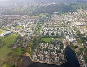Thamesmead - Aerial view Thamesmead South and Central, 2017