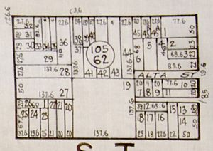 Spanish customary units - This street block is made up of six (2 X 3) 50 vara plots.  The California vara is 33 inches, so 50 vara results in 137.6 foot plots. Subplots are within the original boundary lines.  San Francisco business district was originally called 50 Vara District.  This example is bounded by Union, Kearny, Filbert and Montgomery streets.